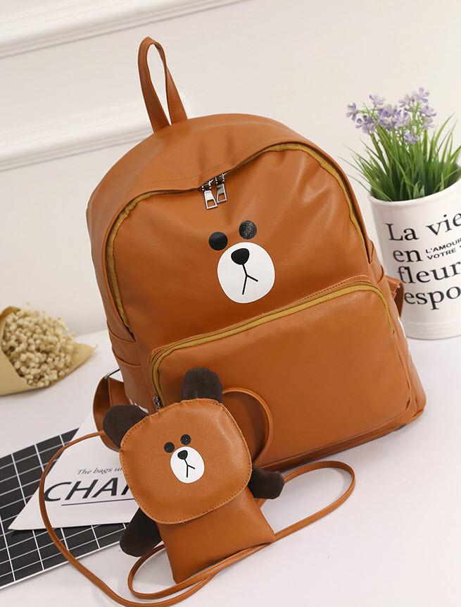 Модный городской рюкзак медведь с сумочкой
