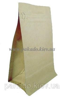 Пакет с плоским дном 145х340х90 (1кг) КРАФТ боковой zip-замок