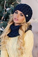 Зимний женский комплект «Эустома» (шапка и шарф-хомут) Джинсовый