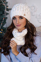 Зимний женский комплект «Эустома» (шапка и шарф-хомут) Белый