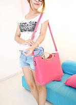 Стильна жіноча сумка на ромбики і квіточки, фото 2