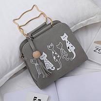 Каркасная сумка с ручками-котиками и принтом котов, фото 2