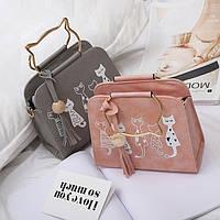 Каркасная сумка с ручками-котиками и принтом котов