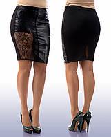 """Женская стильная юбка в больших размерах 021 """"Кожа Кружево"""""""