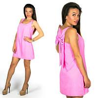 """Элегантное короткое коктейльное платье 560 """"Шифон Трапеция Бант"""" в расцветках"""