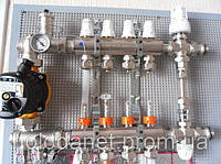 Коллектор в полном сборе Icma 3 выхода. Термоголовка, смесительная группа. Без насоса.