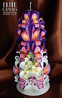 """Свеча """"Белая орхидея"""" на фиолетовой свече"""