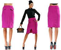 """Женская стильная юбка средней длины 5199 """"Креп Клапаны Разрез Миди"""" в расцветках"""