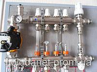 Коллектор в полном сборе Icma 4 выхода. Термоголовка, смесительная группа. Без насоса.