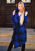 """Женское стильное пальто-кардиган 9042 """"Кашемир Клетка Углы Капюшон"""" в расцветках"""