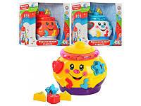 Музыкальная игрушка сортер Горшочек 0915: 3 цвета, 6 фигурок с буквами и цифрами