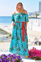 """Элегантное яркое длинное платье в больших размерах 035 """"Фонарик Розы Мелкие Макси"""" в расцветках"""