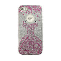 Чехол силиконовый Mask Collection Платье розовое в серебре для iPhone 5