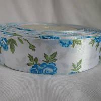 Атласна стрічка з розочками, 2,5 см біло блакитний