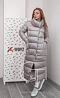 Женская удлиненная зимняя  куртка - 46 размер, серая