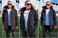 Зимняя мужская куртка с мехом №2202 (р.М-2XL)