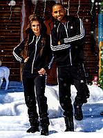"""Тёплый женский спортивный костюм с капюшоном на байке 709 """"Адидас Змейка Лампасы"""" в расцветках"""
