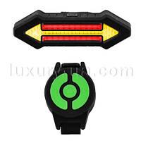 """Фонарь велосипедный X4 """"STOP"""" с указанием поворотов (красный+желтый)аккум,micro USB"""