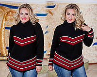 """Женский вязанный удлинённый свитер в больших размерах """"Углы Полосы"""" в расцветках"""