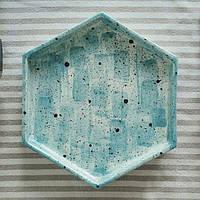 """Тарелка Eugenia's pottery """"Honeycombs Blue"""" 21 см"""