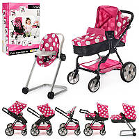 Коляска D-88844для куклы, прогулочная, колеса 4 шт, регулируется ручка, стул для кормления