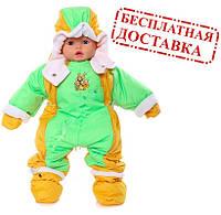Детский комбинезон трансформер на флисе (Желтый с зеленым)