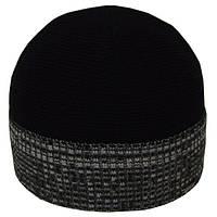 Шапка 12089 меланжевый-черный