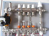 Коллектор в полном сборе Icma 7 выходов. Термоголовка, смесительная группа. Без насоса.