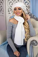 Зимний женский комплект «Олли» (берет и шарф) Белый