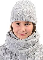 Детский шерстяной комплект шапка и снуд теплый