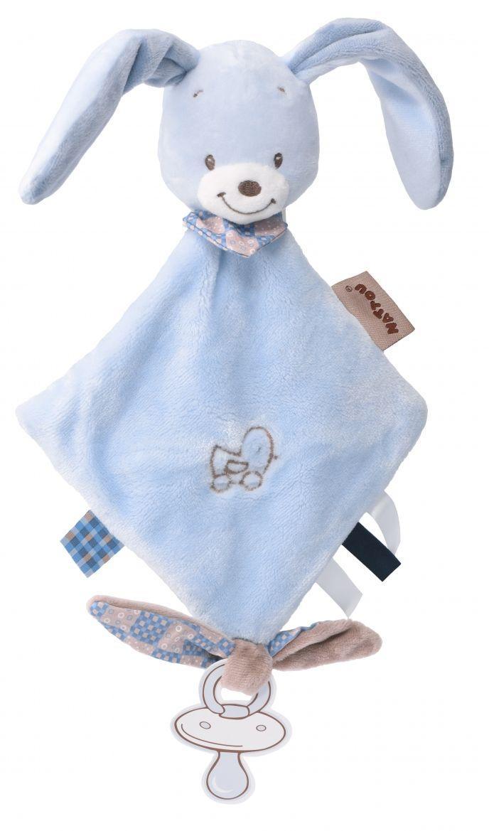 Мягкая квадратная детская игрушка Nattou кролик Биба 321129 голубой