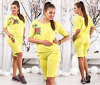 """Летний женский костюм с шортами в больших размерах 075 """"Роза Вышивка"""" в расцветках"""