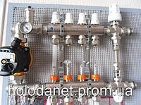 Коллектор в полном сборе Icma 10 выходов. Термоголовка, смесительная группа. Без насоса.