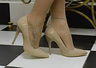 Туфли лодочка стильные,лакированные,беж,размер  37!!