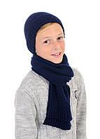 Детский шерстяной комплект шапка и шарф теплый
