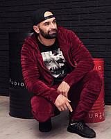 Мужской велюровый костюм; Спортивный костюм; Марсала; 3 цвета