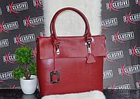 Женская кожаная сумка премиум класса бордовая.