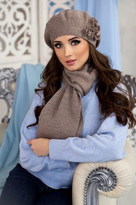 Зимний женский комплект «Олли» (берет и шарф) Темный кофе