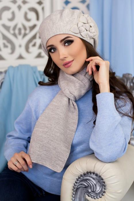 Зимний женский комплект «Олли» (берет и шарф) Светлый кофе