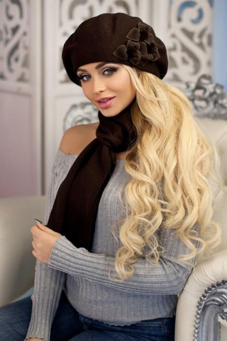 Зимний женский комплект «Олли» (берет и шарф) Коричневый