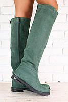 Зимние женские ботфорты-европейка, из натурального нубука, изумрудные, на низком ходу