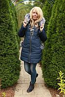 Зимняя женская куртка с мехом теплая стильная синяя