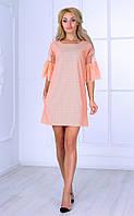 Женское платье с рукавами 3/4 (персиковое) Poliit № 8404