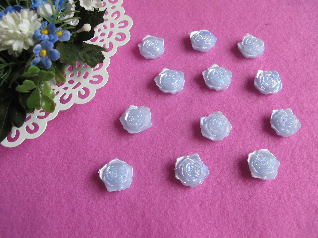 Серединка акриловая - Голубая роза с перламутром  р-р -19 мм цена 2 грн - 1 шт