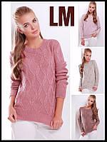 Шерстяной свитер 8817 44,46,48,50 р женский бежевый розовый зимний батал свободный теплый красивый ажурный
