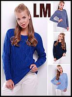 Модный свитер 8817 44 46 48 50 р женский синий голубой теплый зимний большого размера с узором вязанный батал
