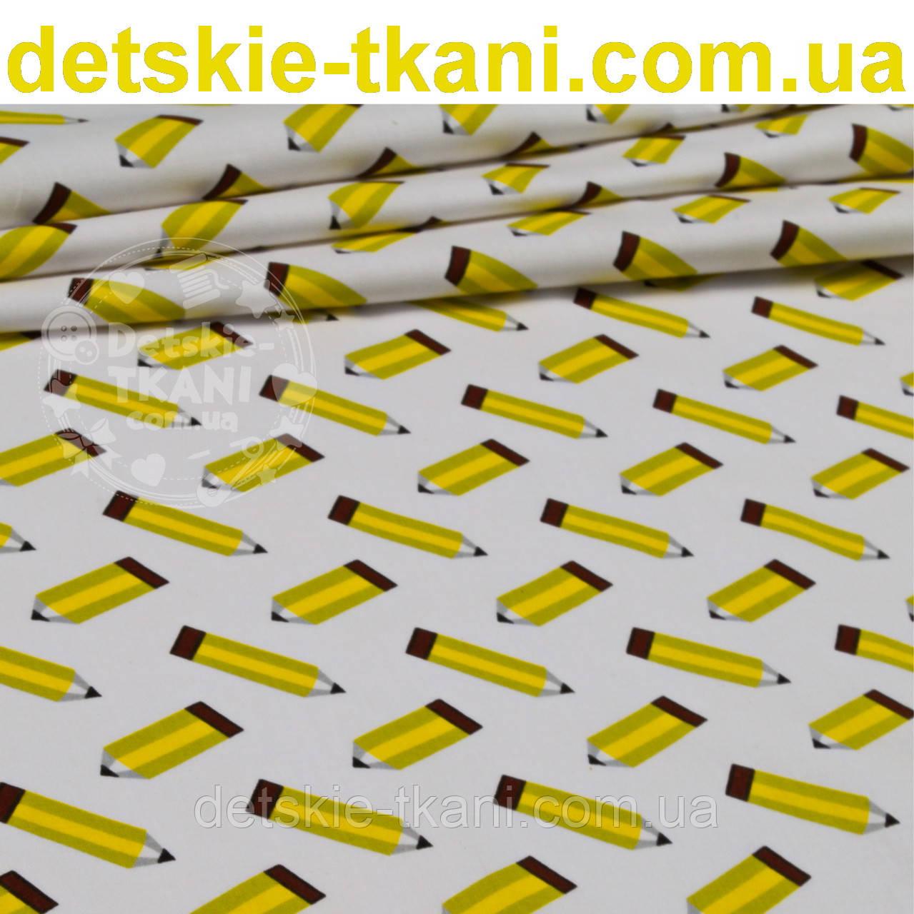 Отрез ткани с жёлтыми карандашами на белом фоне,  № 906а размер 102*160