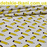 Бязь польская с жёлтыми карандашами на белом фоне,  № 906а