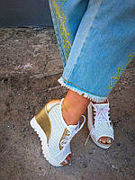 Женские кожаные летние туфли с открытым носком, белого цвета