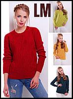 Вязанный свитер 8817 44 46 48 50р женский джемпер зимний ажурный красный зеленый желтый батал теплый шерстяной